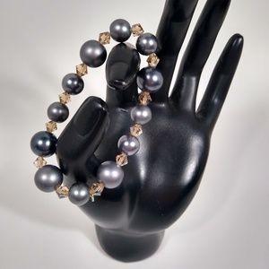 Bracelet Metallic Silver Handmade Stretch